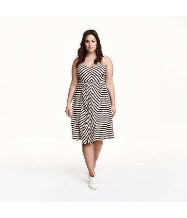 H&M+ Платье в полоску (Черный/Полоска)