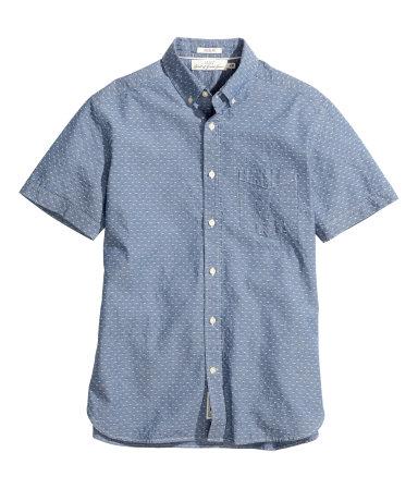 Рубашка с коротким рукавом (Голубой/Шамбре)