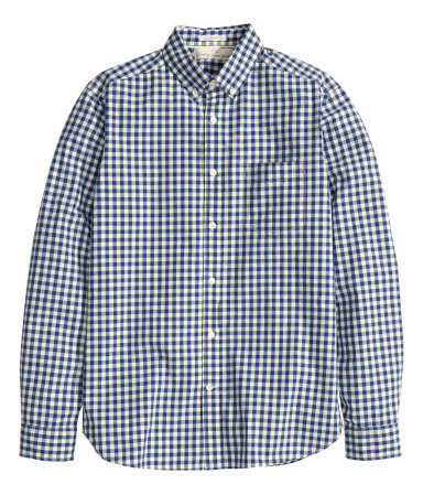 Рубашка из хлопка (Темно-синий/Мелкая клетка)