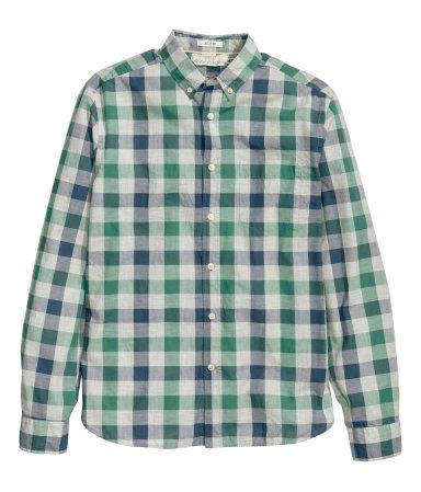 Рубашка из хлопка (Красный/Зеленый)