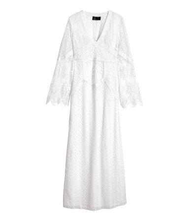Длинное кружевное платье (Белый)