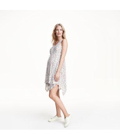 МАМА Трикотажное платье (Белый/Узоры)