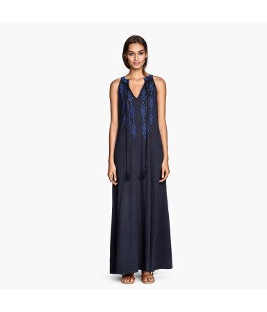 Платье-макси с вышивкой (Синий)