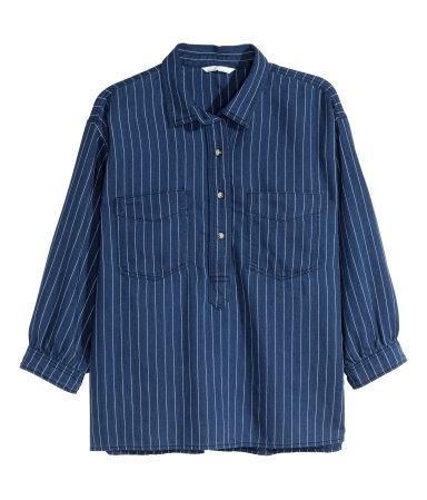 Джинсовая рубашка (Темно-синий деним)