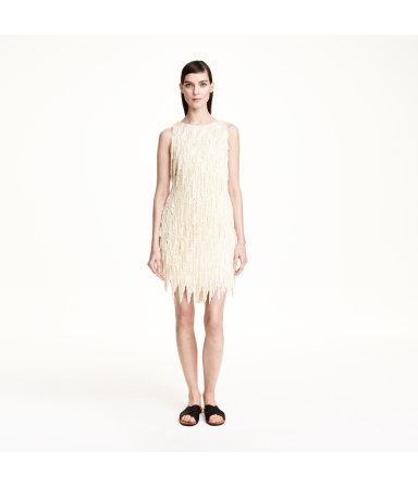 Платье с бахромой (Светло-бежевый)