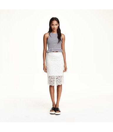 Кружевная юбка-карандаш (Белый)