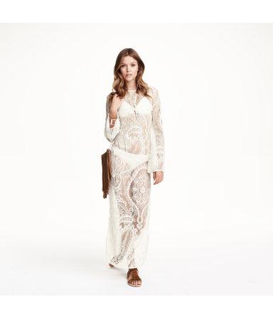Длинное кружевное платье (Натуральный белый)