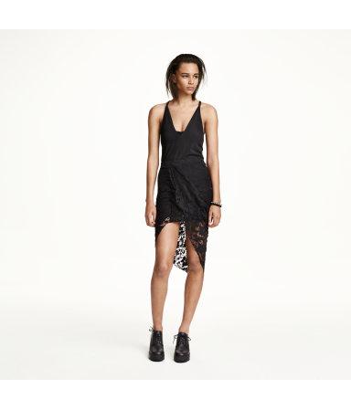 Кружевная юбка с драпировкой (Черный)