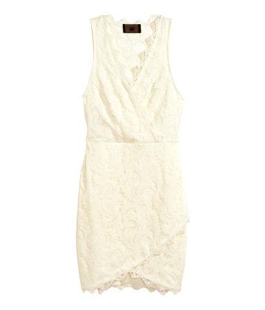 Кружевное платье без рукавов (Натуральный белый)