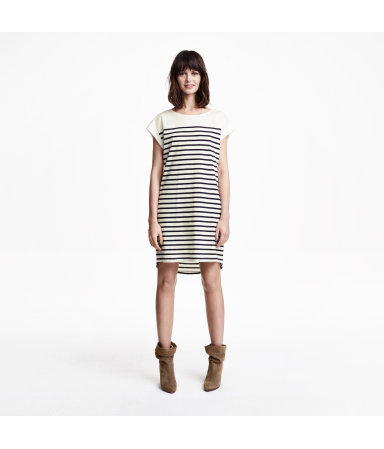 Платье-футболка (Темно-синий/Полоска)