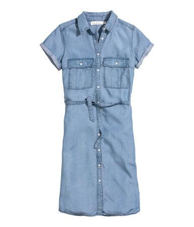 Платье-рубашка из лиоцелла (Синий деним)