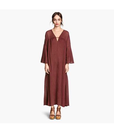 Широкое платье из хлопка (Бордовый)