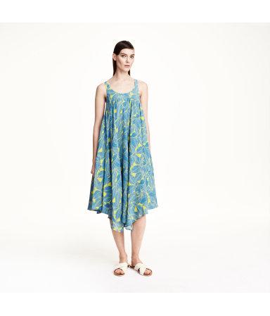 Платье без рукавов (Желтый/Узоры)