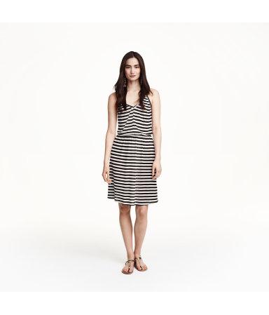 Трикотажное платье (Белый/Полоска)