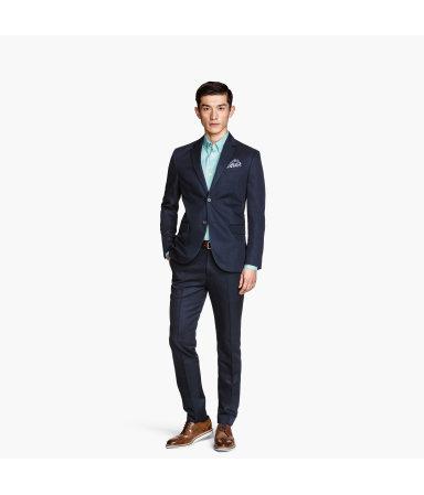 Костюмные брюки, смесовый лен (Темно-синий)