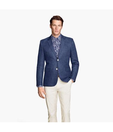 Пиджак из смесового льна (Темно-синий)