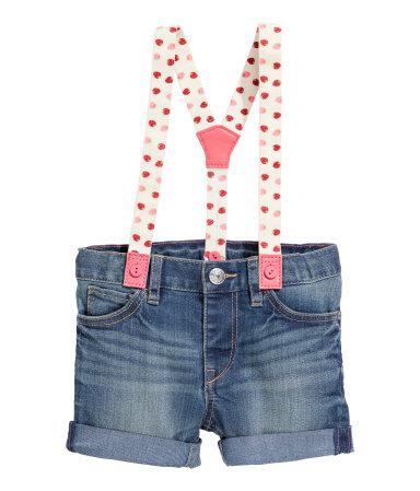 Джинсовые шорты на подтяжках (Синий деним)