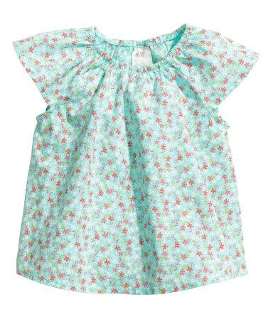 Блузка из хлопка (Светло-бирюзовый)
