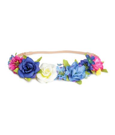 Плетеный ободок с цветами (Синий)