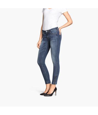 Укороченные джинсы (Темно-синий деним)