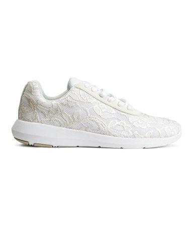 Кружевные кроссовки  (Белый)