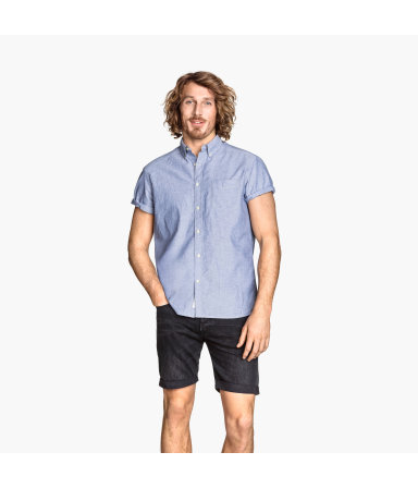 Рубашка с коротким рукавом (Синий)