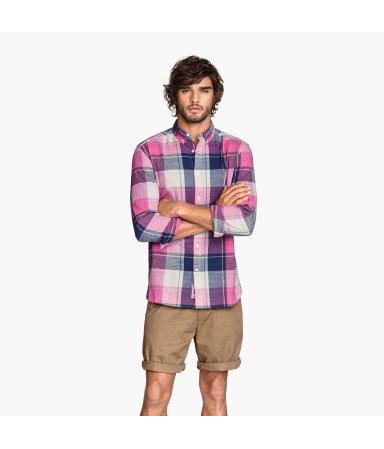 Рубашка Regular fit (Розовый/Клетка)