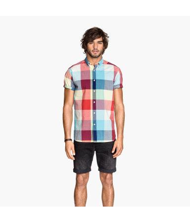 Рубашка из поплина (Бирюза/Оранж.)