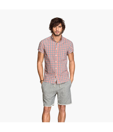 Рубашка из поплина (Темно-синий/Белый)