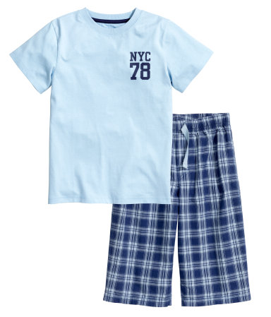 Хлопковая пижама (Голубой)