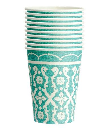 Бумажные стаканчики, 10 шт. (Бирюзовый)
