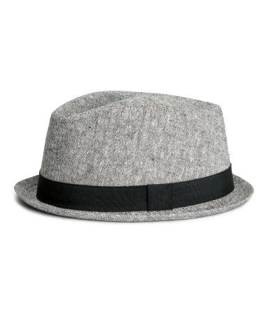 Шляпа из смесового льна (Серый )