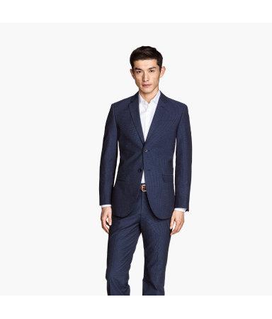 Пиджак из структурной ткани (Темно-синий)