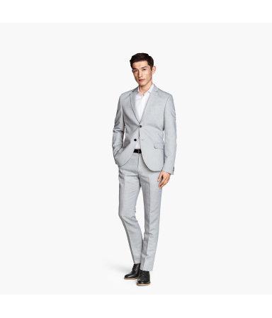 Костюмные брюки из смеси льна (Светло-серый)