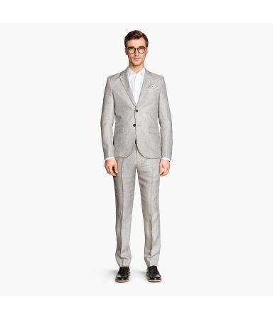 Льняные костюмные брюки (Серый)