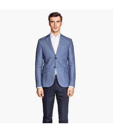 Льняной пиджак (Синий)