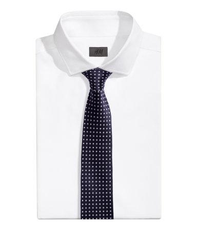 Шелковый галстук в горошек (Темно-синий)
