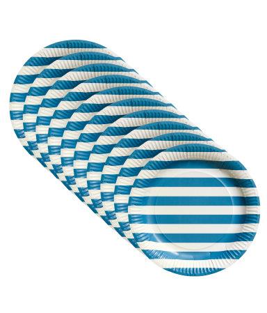 10 бумажных тарелок (Синий)