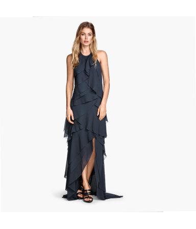 Платье из шифона с воланами (Темно-синий)