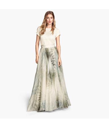 Длинная юбка с рисунком (Светло-серый)