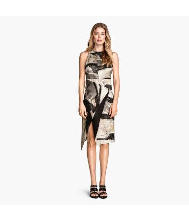 Платье из смесового шелка (Серый)