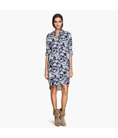 Длинная рубашка  (Синий/Пальмы)