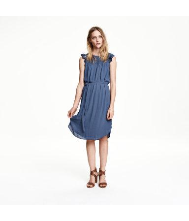 Платье с коротким рукавом (Темно-синий)