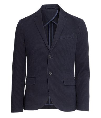 Пиджак из тестурного хлопка (Темно-синий)