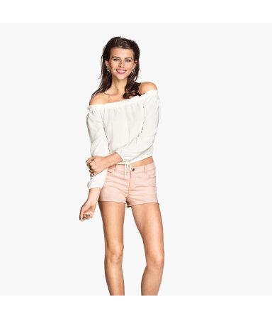 Короткие шорты из твила (Розовая пудра)