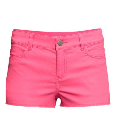 Короткие шорты из твила (Неоновый розовый)