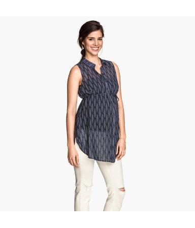 МАМА Блузка без рукавов (Темно-синий рисунок)