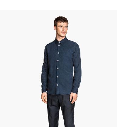 Рубашка из смесового льна (Темно-синий)