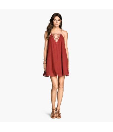 Расклешенное платье (Терракота)