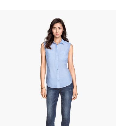Рубашка х/б без рукавов (Голубой)
